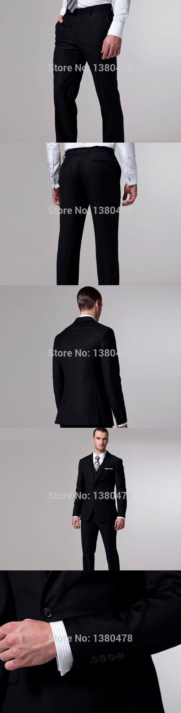 Latest style side slit black buttons groom tuxedos notch lapel