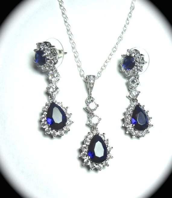 Blue Sapphire jewelry set, Earrings and necklace set, Cubic Zirconia's,  Halo, Something Blue, Brides jewelry set, High end, Elegant, KATE