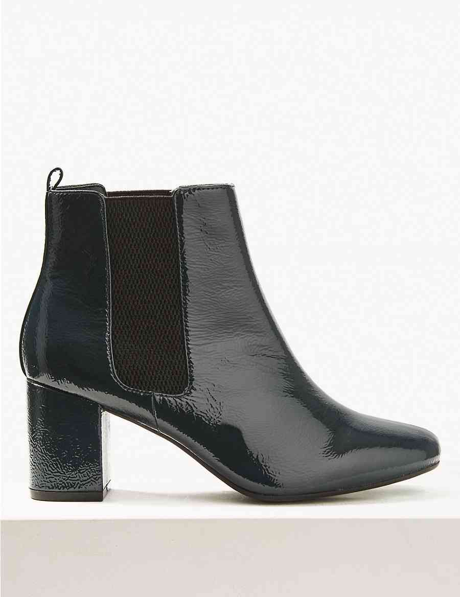 f716254f14b Wide Fit Patent Leather Chelsea Ankle Boots