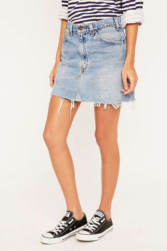 Urban Renewal Vintage Re-Made - Minijupe Levis en jean - Urban Outfitters