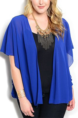 Plus Size Sheer Sequined Back Kimono Top | PLUS SIZE: Tops ...