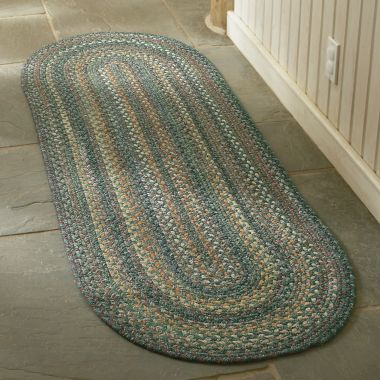 Braided Rug I Am Making One Right Now That Shape For My Long Skinny Bathroom Almost Same Colors Too But With A Little Pink Blue Whi Rugs Rug Runner Capel