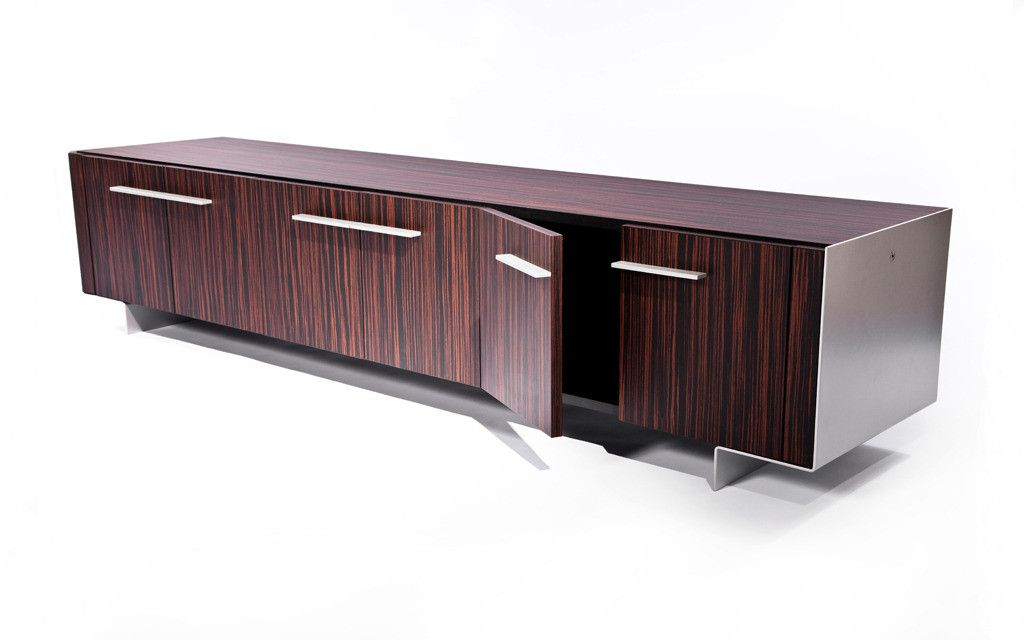 Modern Dark Wood Credenza : Macassar ebony credenza cabinet with elegant formed aluminum end