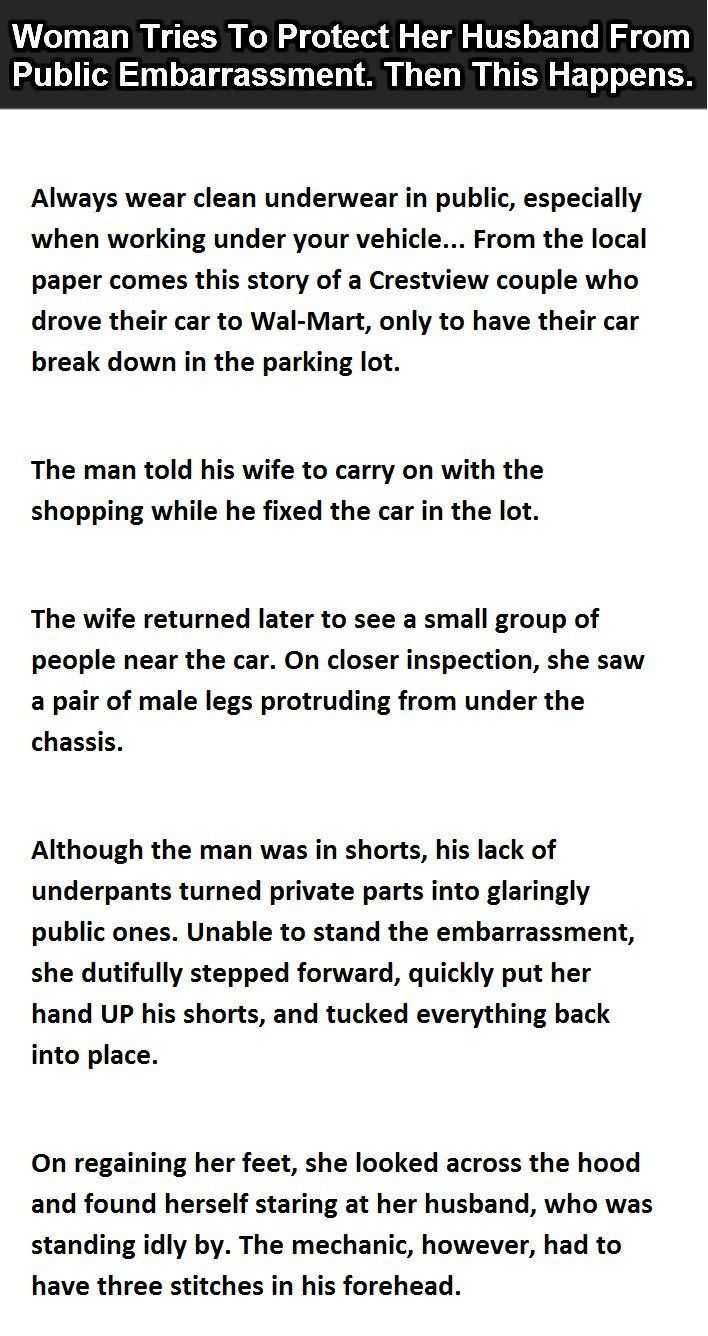 This Wife Thought She Was Preventing Indecent Exposure Husband Jokes Husband Humor Funny Laugh