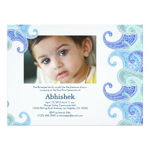 Paisley Annaprashan (First Rice) Invitation Babies - invitation letter in telugu