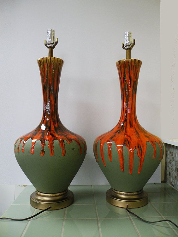 Reserved For Lareese Pair Of Huge Orange Drip Glaze Table Etsy Ceramic Light 70s Decor Vintage Table Lamp