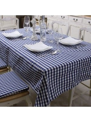 Blue & White Plaid Table Cloth