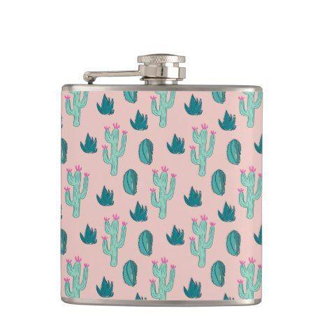 Cute Cactus Pattern Pink Green Hip Flask