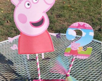 Centro de mesa Peppa Pig Centerpiece by Detallitospapel on Etsy