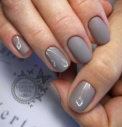 20 ideas manicure designs for short nails grey for 2019