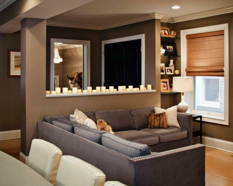 Wandgestaltung Braun Wohnzimmer Verschiedene Schokoladennuancen