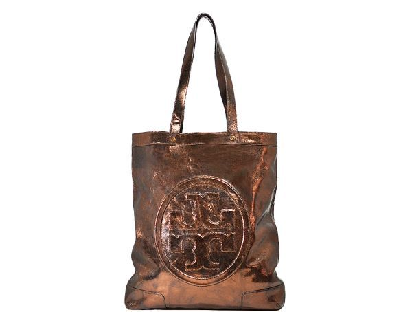 Tory Burch Metallic Leather E T Tote Bronze Designer Consignmentmetallic