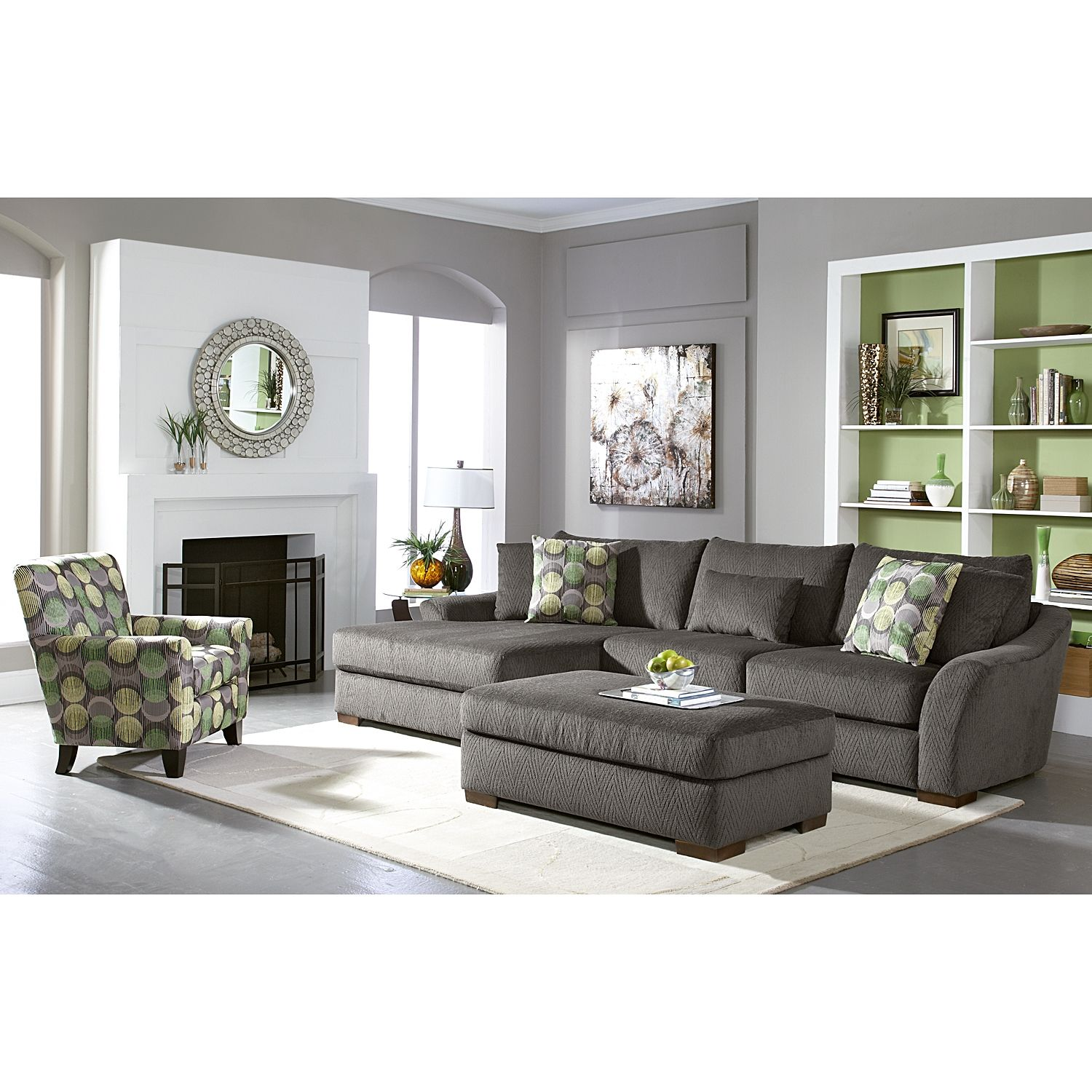 Living Room Furniture Orleans Gray 2 Pc Sectional