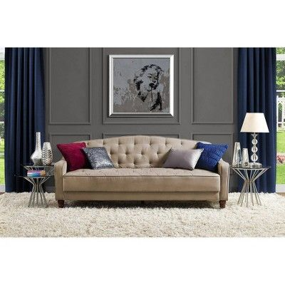 Vintage Tufted Sofa Sleeper Taupe Novogratz Brown Tufted Sofa
