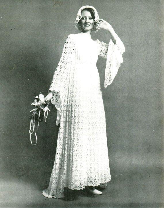 Vintage Crochet Patrón CD hermoso vestido de por Knittingknitch
