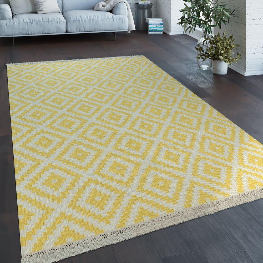 Handgewebter Trend Teppich Marokko Weiß Gelb Teppich Gelb Teppich Zottelteppich