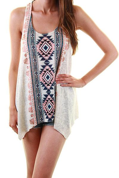 Hues of blue and orange make this Aztec print chiffon tank a must have! Chiffon tank with vertical aztec print on the front and on the back. Fit Tip: True to Si