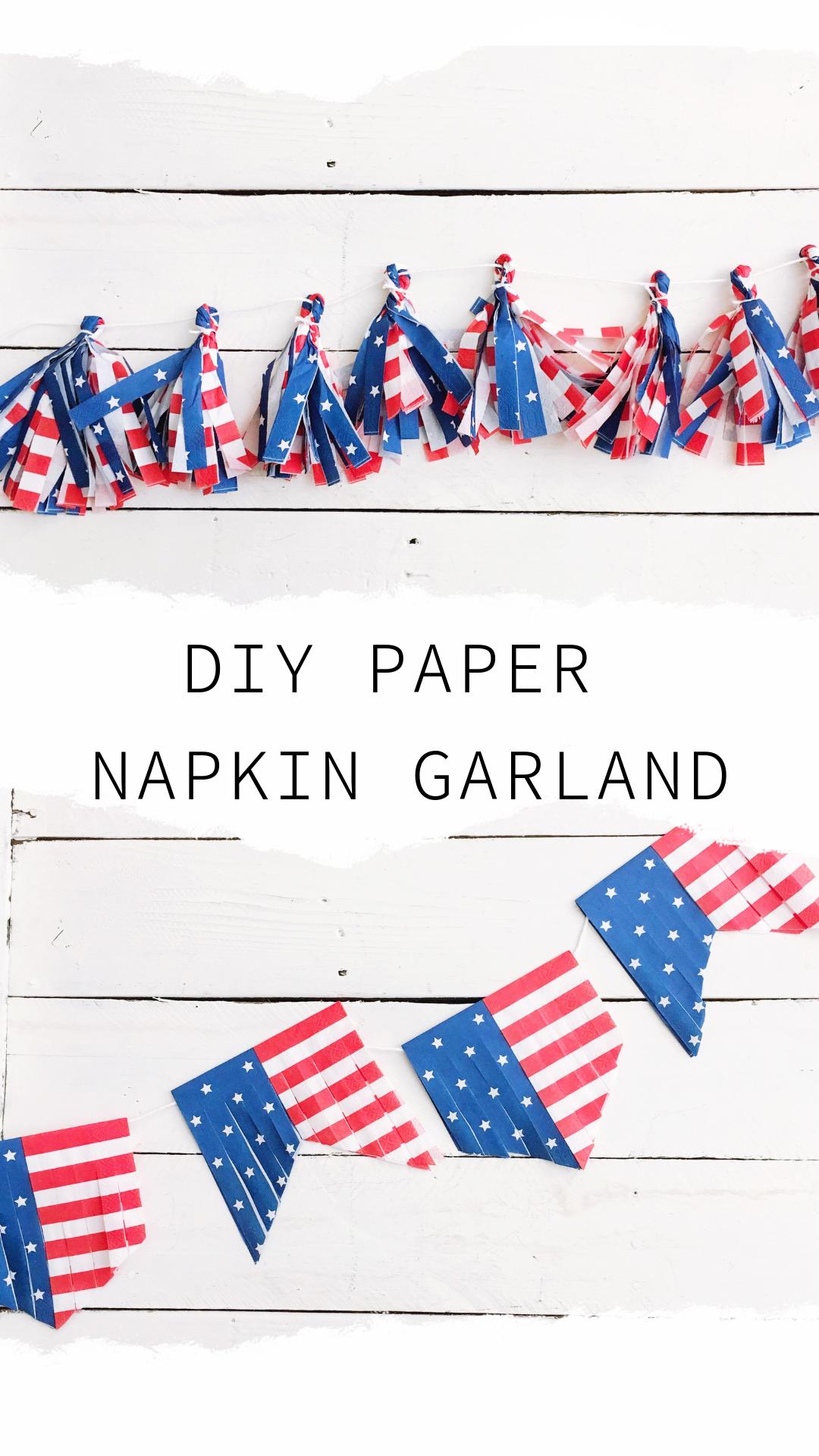 Easy 4th of July DIY Papierserviettengirlande - die gepunktete Schleife #diynapkinfolding D ....