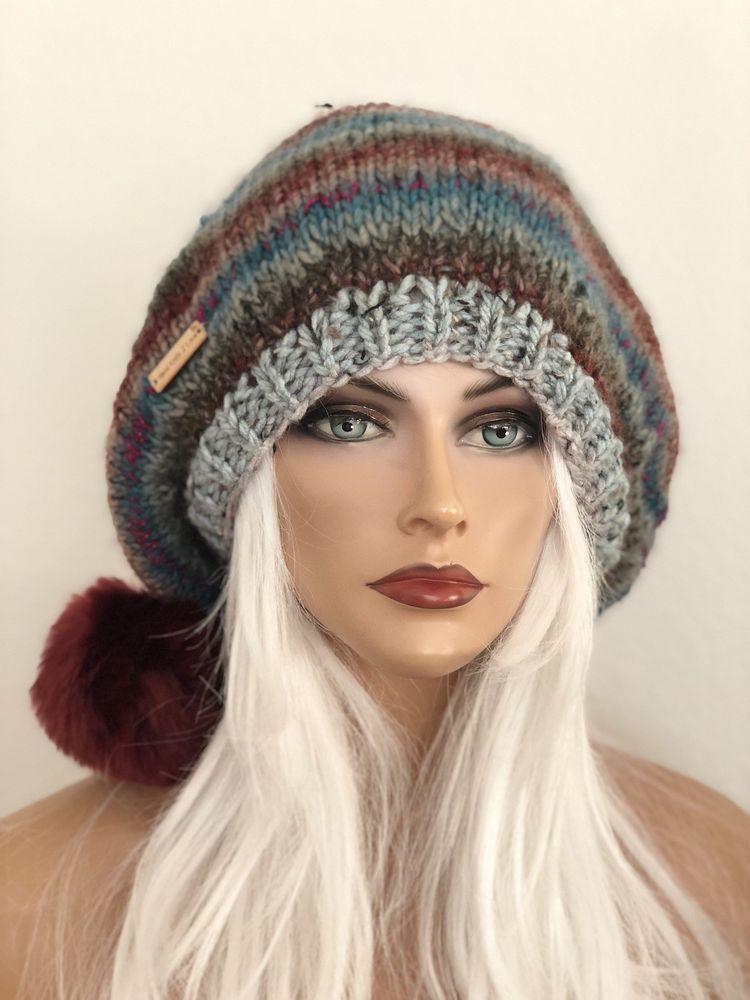 4a03120b43a31 Hand Knits 2 Love Beanie Hat Slouch Beret Cap Designer Fashion Faux Fur Pom  Pom