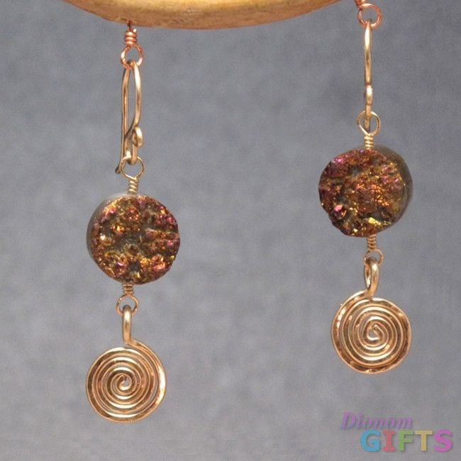 """Druzy with hammered spiral, 1-1/4"""" Earring Gold Or Silver"""