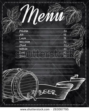 vector hand drawn chalkboard beer menu with cones and leaves of hop