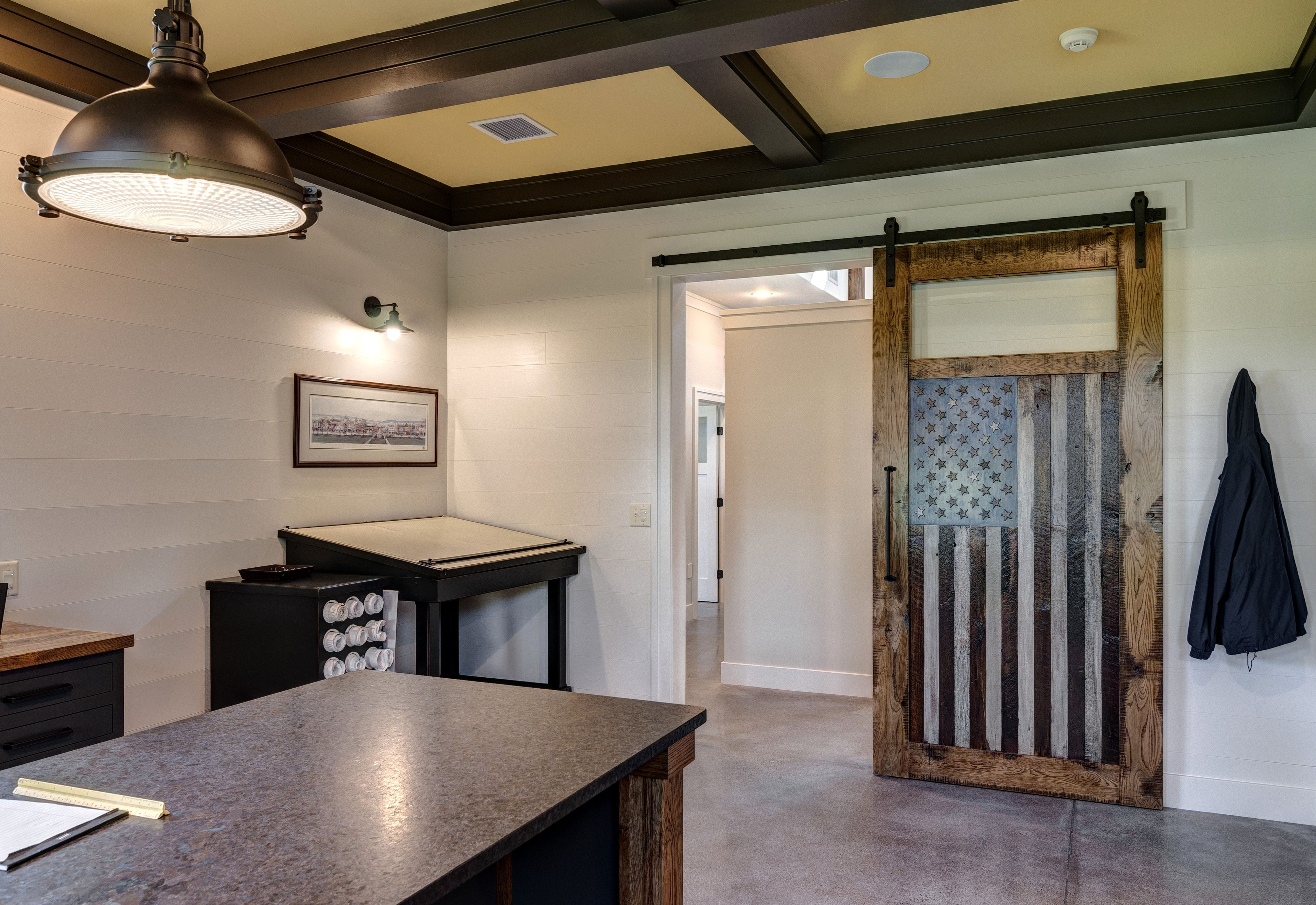 Custom Commercial Office With American Flag Barn Door Built Ins And Tray Ceilings Farinelli Construction Mechan Barn Doors Sliding Commercial Office Home