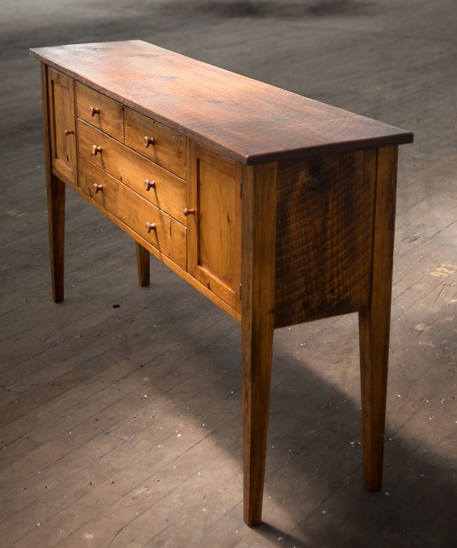 Wonderful Reclaimed Antique Heart Pine Handcrafted Sideboard By Artist Jaryd Walley  Of Mobili Farm Tables South Carolina