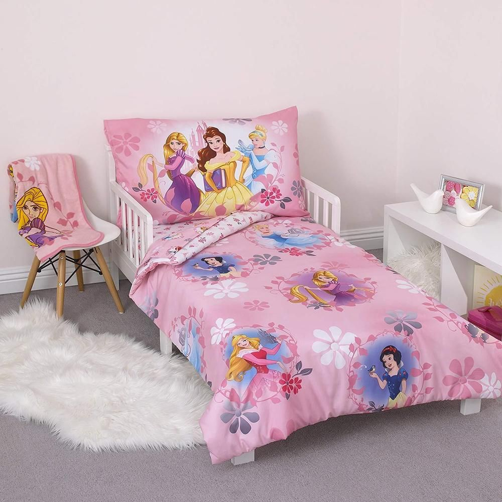 Details About Toddler Bedding Set Pretty Princess Cartoon 4 Piece