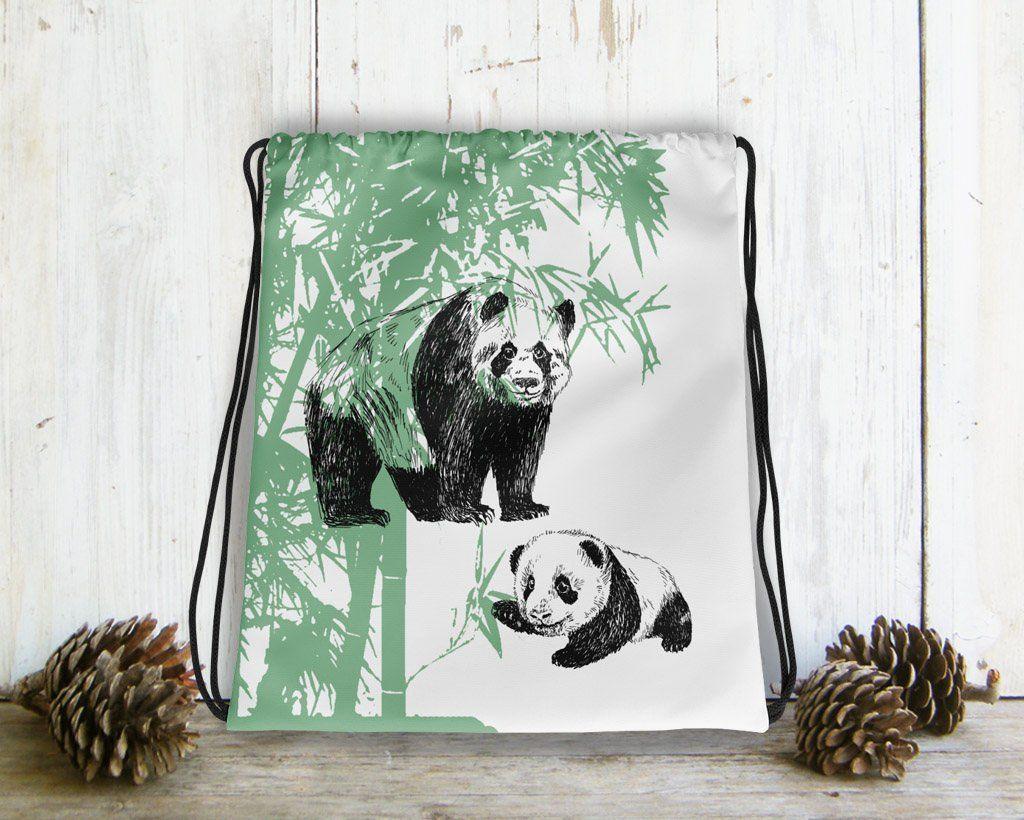 Drawstring Bag For Kids Panda Gifts Family Backpack