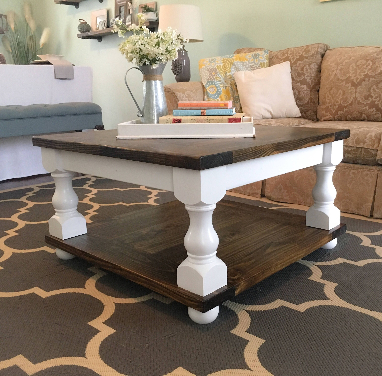 Farmhouse Coffee Table with Bun Feet 34x34x19 by