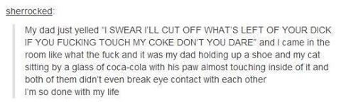 """""""I swear I'll cut off what's left of your dick"""" is the best sentence I've ever read"""