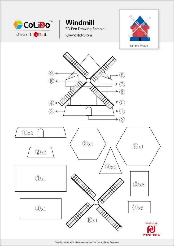 colido-3d-pen-stencil-windmill.jpg (736×1041) | kinderfeestje ...