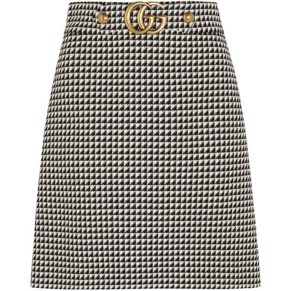 868f5d3085 Gucci Houndstooth wool-blend mini skirt ( 825) ❤ liked on Polyvore  featuring skirts