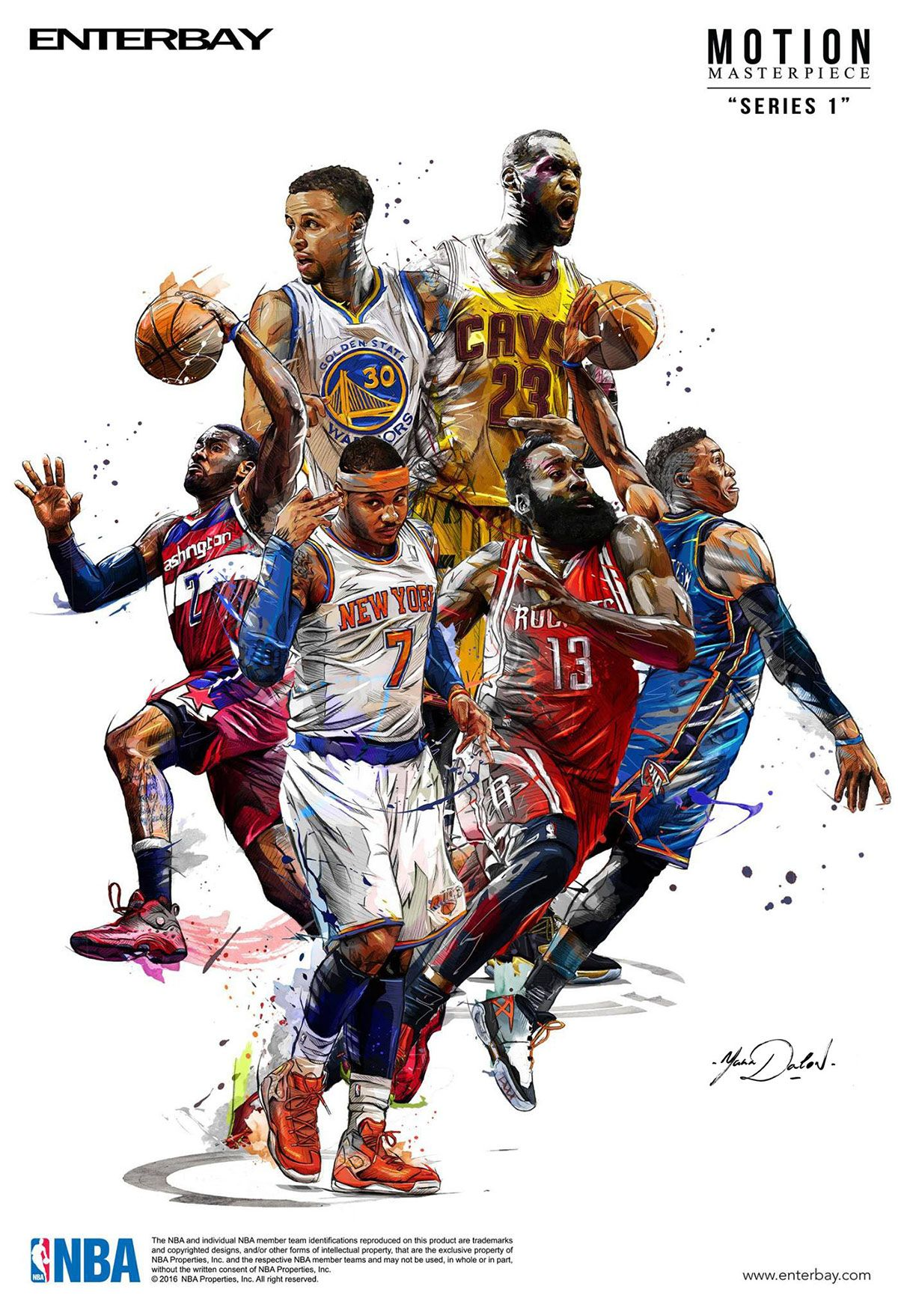 This Colorful Line Illustration Of Nba Players From Various Teams