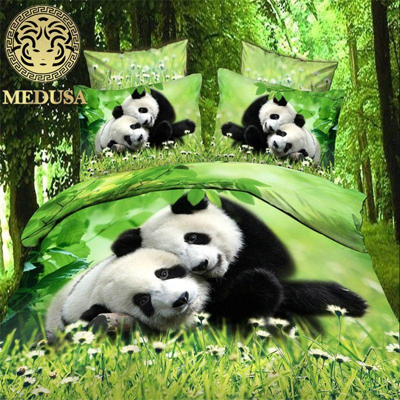 vivid 3d baby panda 200 TC cotton queen size bedding set