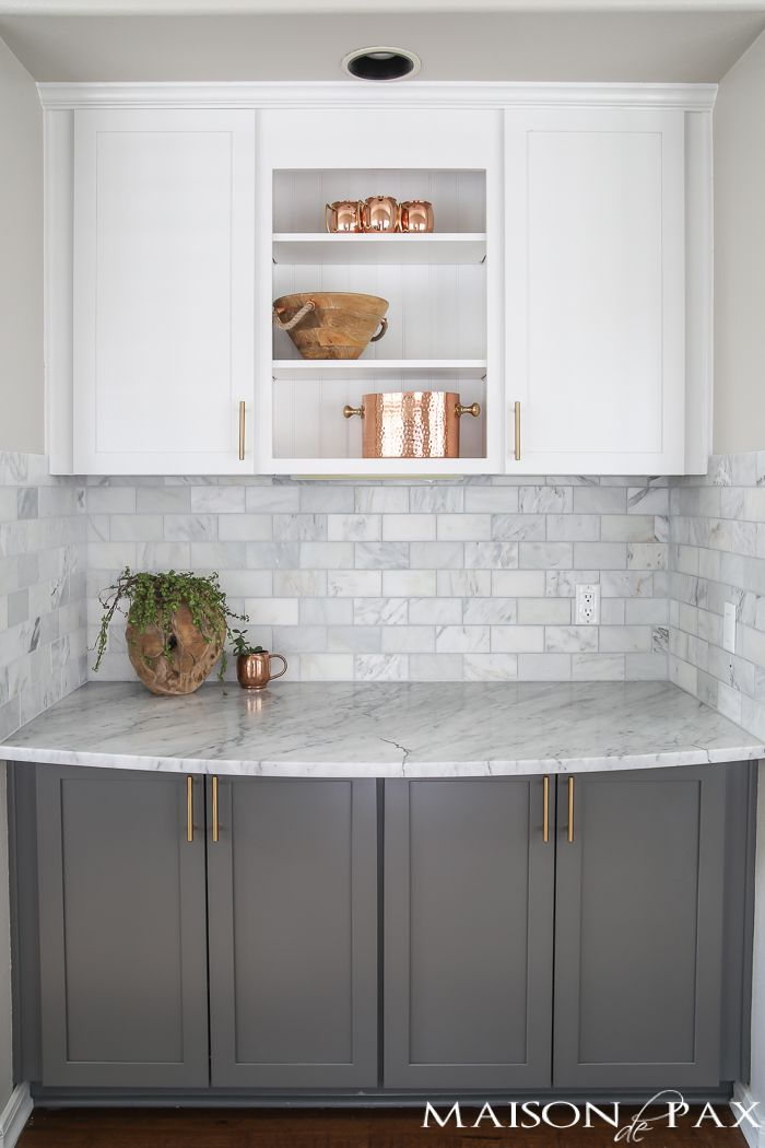 grey kitchen backsplash modern pulls gray and white marble reveal k i t c h e n two toned cabinets subway tile carrara countertops a big farmhouse sink brass hardware give this classic yet