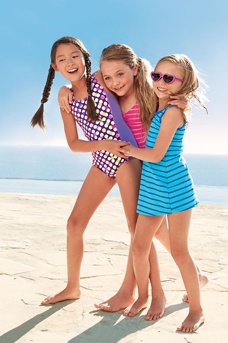 832504a4955a9 Girls' Smart Swim™ Printed Swimdress Set from Lands' End | Family ...