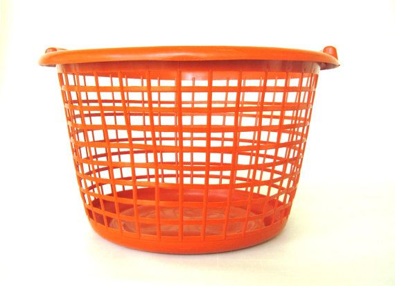 Orange Laundry Basket Plastic Clothes Hamper By Lauraslastditch 39 99 Laundry Hamper Clothes Hamper Hamper