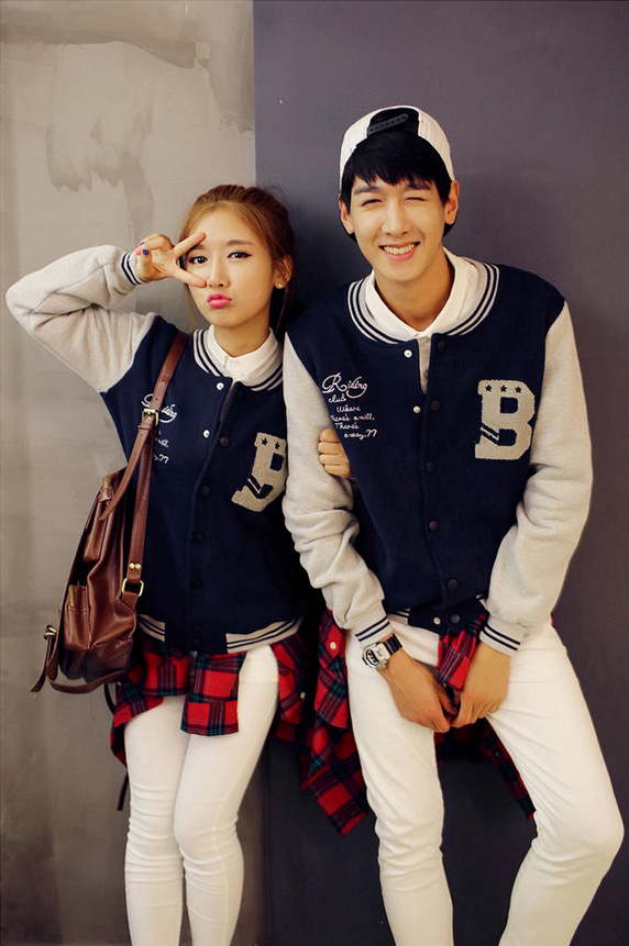 Evolu - Color-Block Couple Baseball Jacket #colorblockjacket ...
