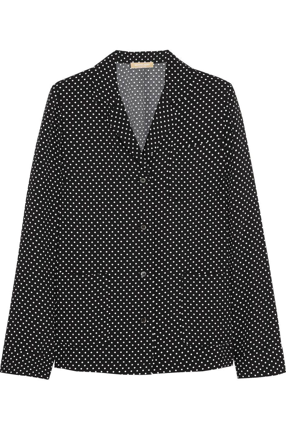 MICHAEL KORS Polka-dot satin-crepe shirt. #michaelkors #cloth #shirt