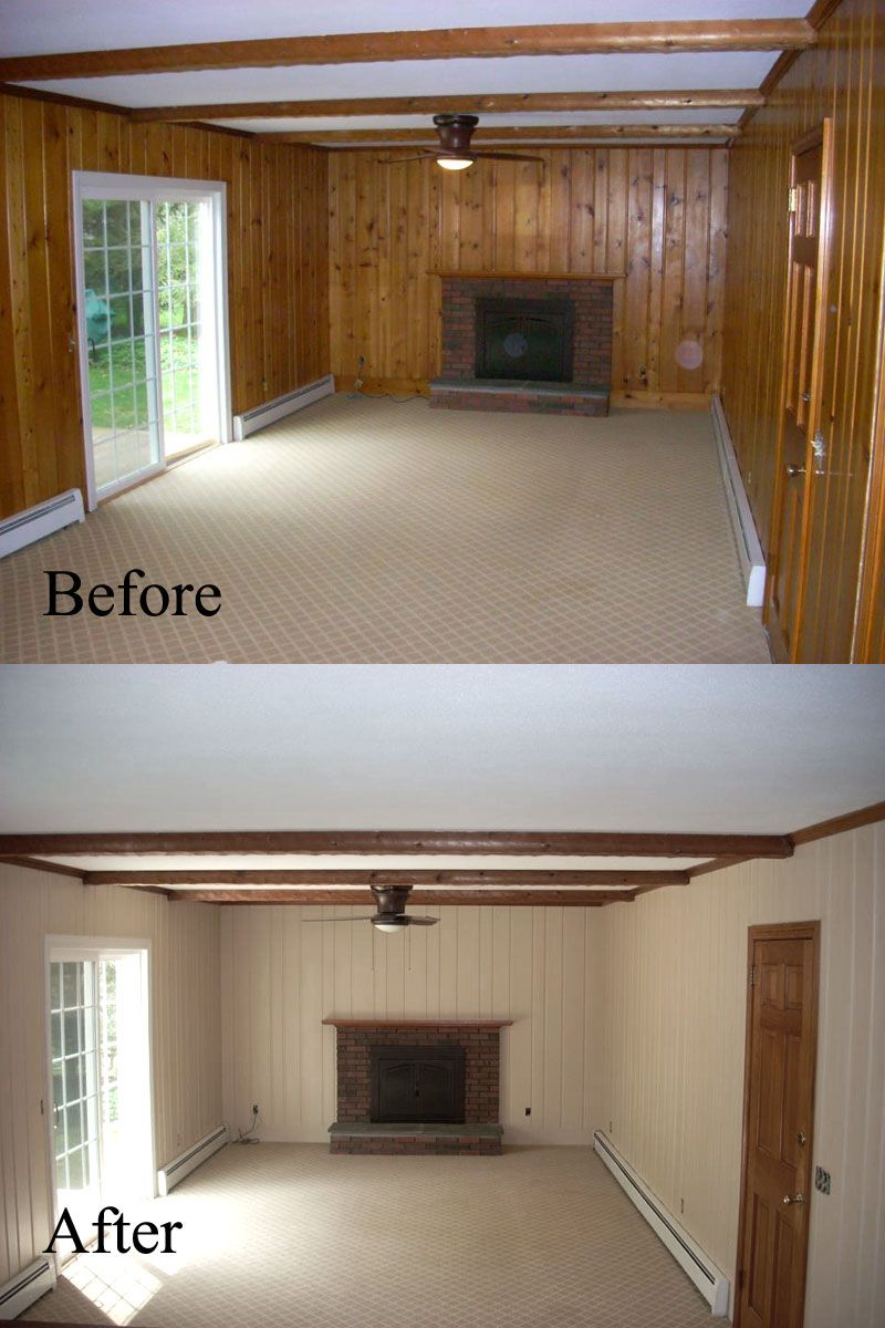 Before and after old wall paneling primed and painted for Paneling makeover ideas