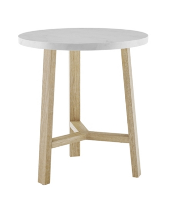20 Inch Round Side Table In Faux White Marble And Light Oak White White Round Side Table Round Side Table White Side Tables