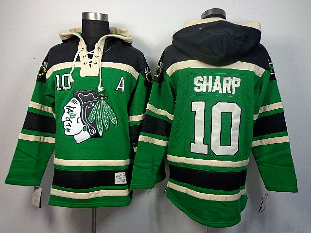 74da40394ab Old Time Hockey Chicago Blackhawks 10 Patrick SHARP St. Patrick's Day  McNary Lace Hoodie - Kelly Green