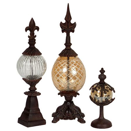 3 Piece Lyon Finial Set - Pairing metallic inspiration with artful intrigue, this beautifully crafted design adds a chic finishing touch to your den, dining room, or master suite....