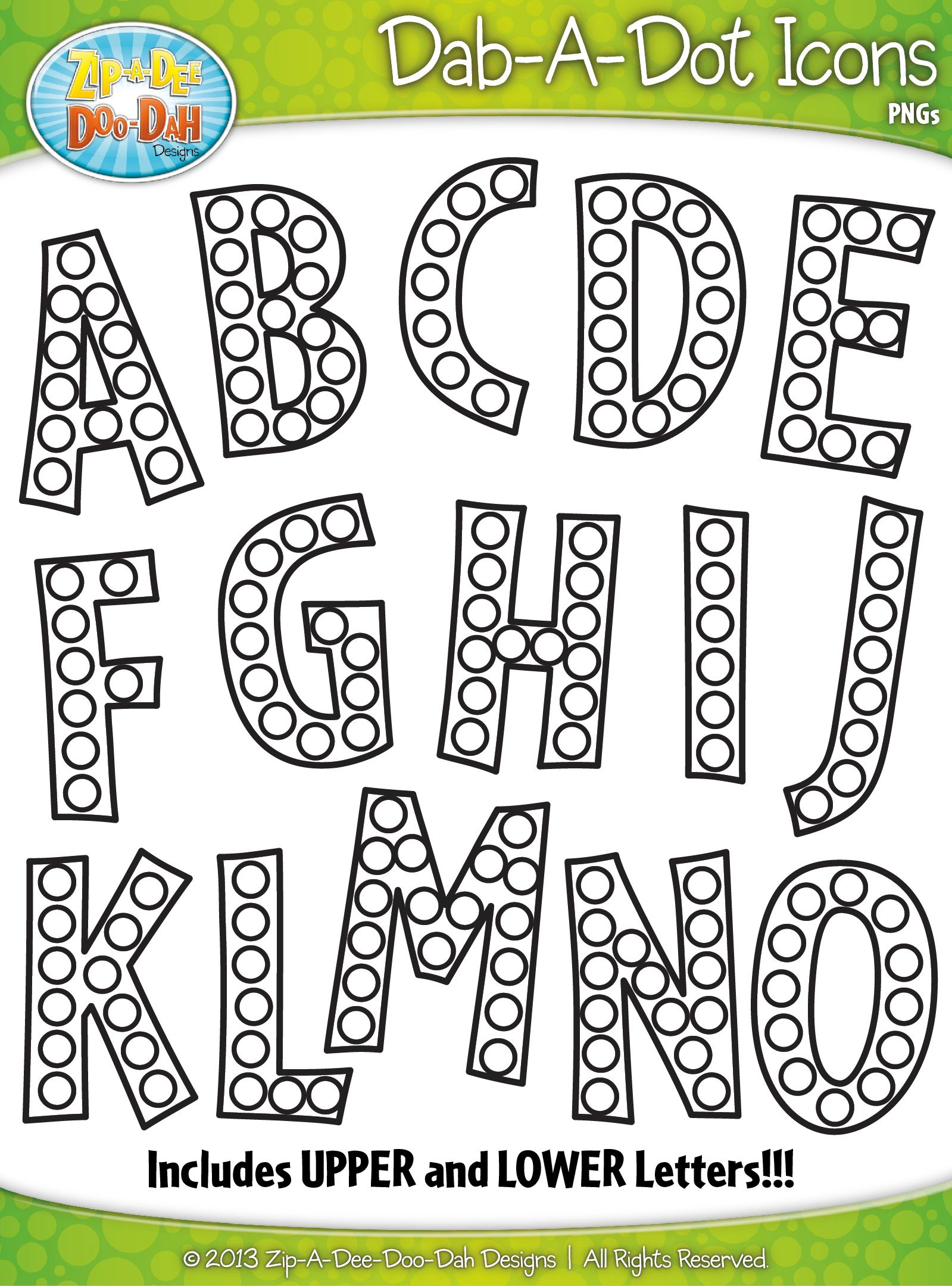 Alphabet Letters Dab A Dot Markers Graphics Clipart Zip A