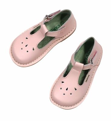 L'Amour Girls Leather T-Strap Mary Jane Shoes - High Back - Pink