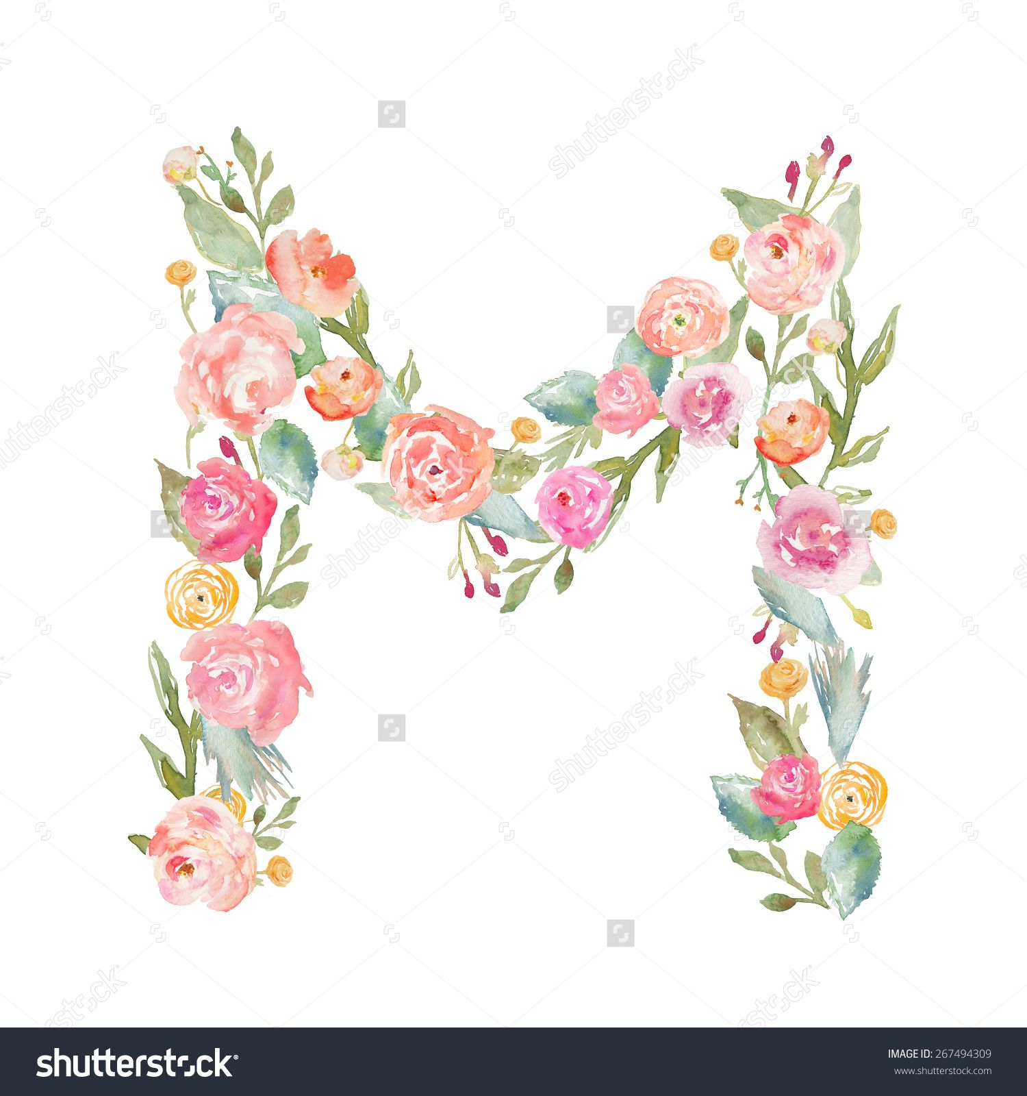Royalty-free Watercolor Floral Monogram Letter M