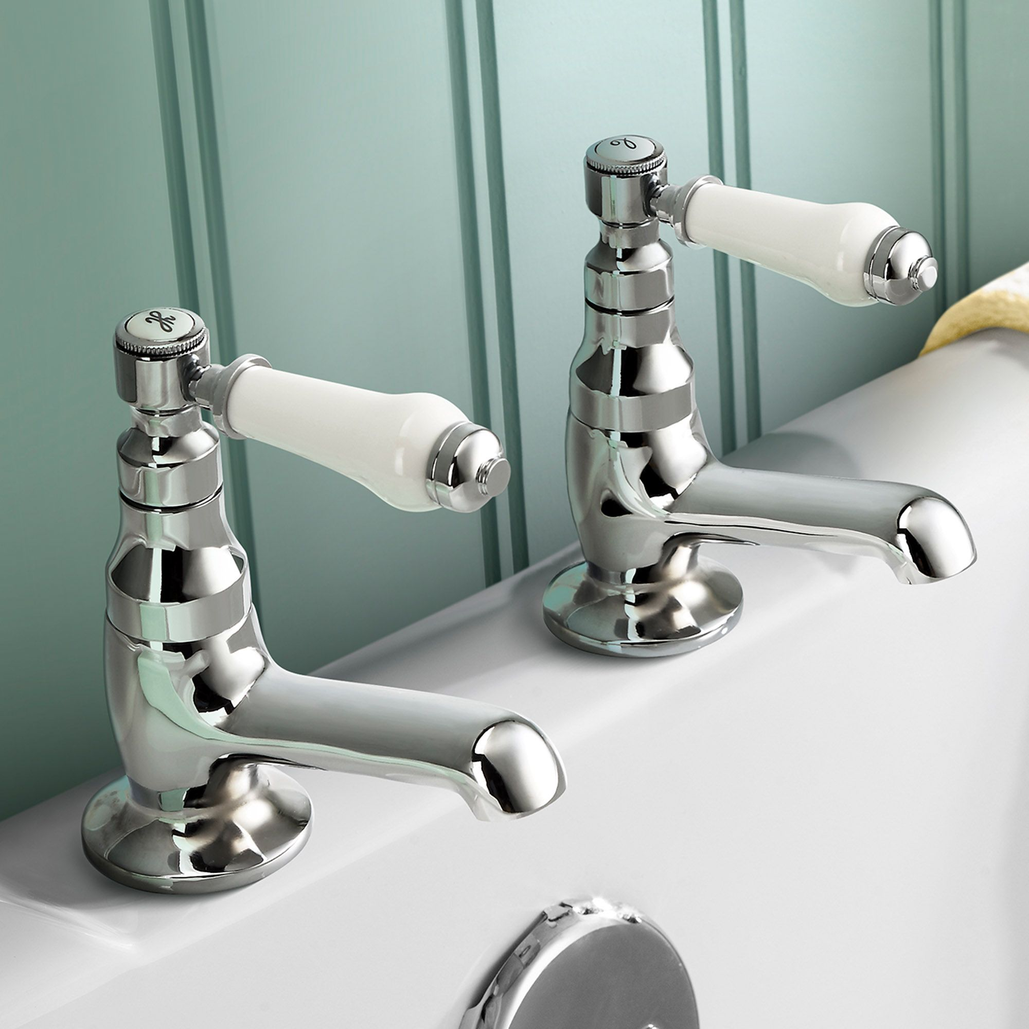 Regal Twin Hot & Cold Traditional Chrome Lever Bath Tub Taps ...