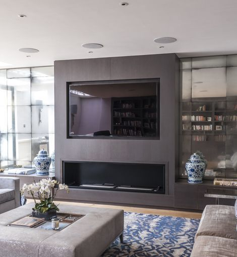 Mirrored Fireplace Wall Living Room Tv Fireplace Tv Wall Wall