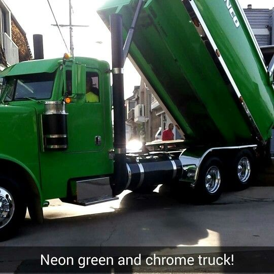 Neon Green Flat Black And Chrome Super 10 Dump Truck Prettiest